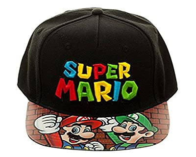 Nintendo Super Mario Bros. Printed Vinyl Flat Bill Adjustable Hat by BIOWORLD