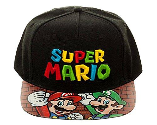Nintendo Super Mario Bros. Printed Vinyl Flat Bill Adjustable Hat Black]()