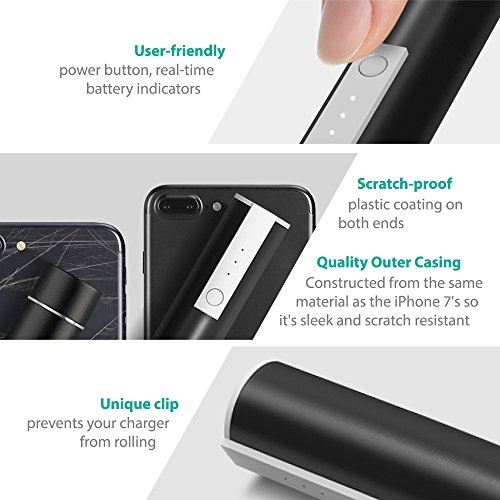 RAVPower Luster miniature 3350mAh Smallest but successful sufficient compact Charger External Battery Pack and electric power Bank and iSmart for iPhone iPad Android and other sharp appliances Black compact electric power Banks