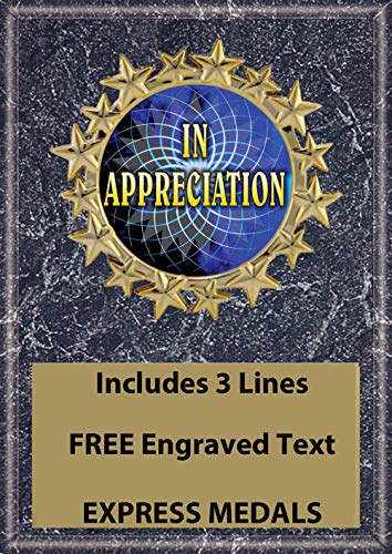 Express Medals 5x7 Appreciation Thank You Plaque Award Trophy with Engraved Plate Black Marble Color ()