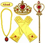 Toys : Alead Princess Belle Yellow Dress up Party Accessories 4 Set Gloves, Tiara, Wand and Necklace