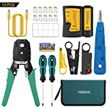 YISSVIC Network Cable Tester 13 in 1 Network Repair Kit with 10Pcs RJ45 Connectors and 2M Network Cable
