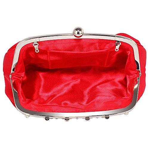 Women Bridesmaid Design Bridal Prom Satin Red Bags Party Designer 1 Ladies Evening Handbag Clutch Purse Floral Diamante qwwX6f