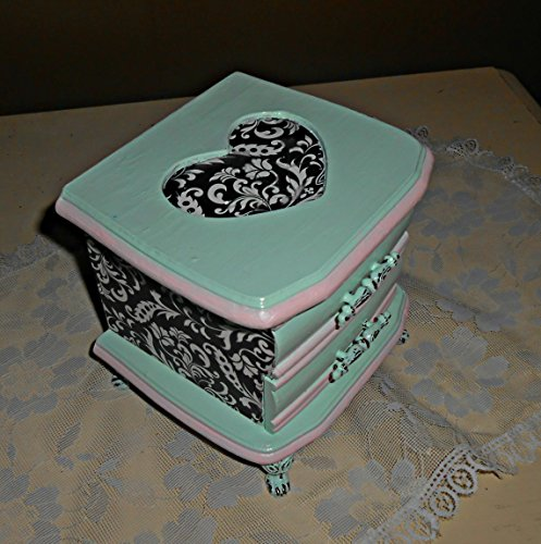 Jewelry Box, Upcycled, Vintage, Shabby Chic, Decoupage, Mint Green, Black and Pink, Hand Made Gifts for Teens, Jewelry Storage, Jewelry Organizer, Bir…
