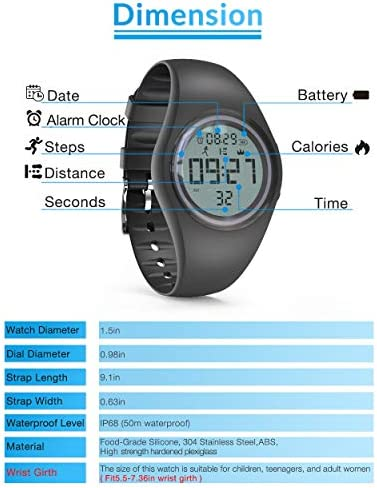 synwee Sports Digital Pedometer Watch Fitness Tracker,IP68 Water Resistant, with Pedometer/Vibration Alarm Clock/Timer, for Kids Children Women Teens Boys Girls 6