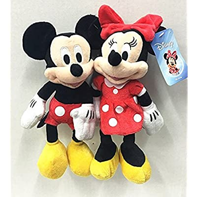 "Just Play Disney Mickey & Minnie Mouse 10"" Plush Bean Doll Set of 2: Toys & Games"