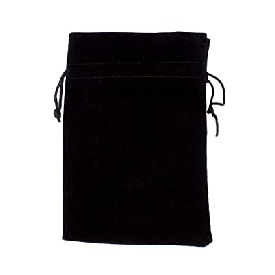 "Wiz Dice Large 7"" x 5"" Black Velour Pouch with Drawstring (Plain): Sports & Outdoors"