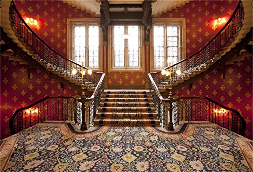 Laeacco 10x6.5ft Vinyl Photography Background Royal Palace Interior Backdrop Pattern Carpet Spiral Stairways Handrails Vintage Floral Design Wallpaper Family Party Weeding Photo