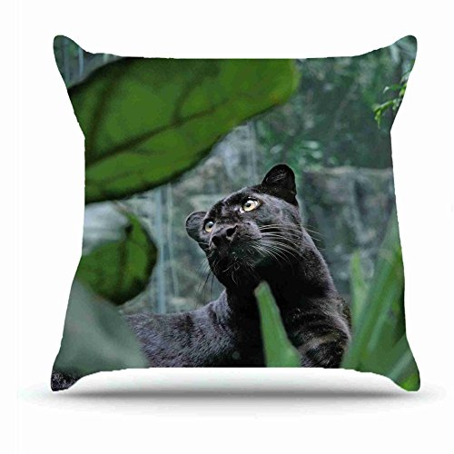 [Throw Pillowcase 18 X 18 Inches Cotton Pillowcases Decorative Pillow Cover Case with Hidden Zipper Cushion Covers - Animals panther predator s lie leaves For Car] (Series Cubicle Office Set)
