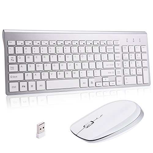 Wireless Keyboard and Mouse Combo,Ultra Slim with Mute Whispe-Quiet Keys,Mouse Magnet Back Cover for Laptop Notebook Mac PC Computer Windows OS Android - Keyboard Cover Wireless And Mouse