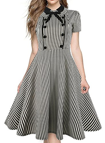 Business Casual Dresses for Women 1940 50 60s Leisure Bow Neck Plaid Slim Short Sleeve Vintage Dress 212(XXL,Gray) (1940s Bow)