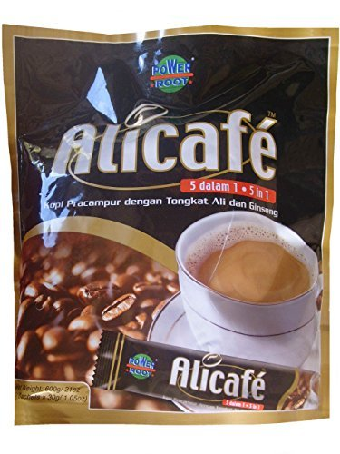 Power Root Alicafe 5 in 1 Instant Premix Coffee Drink With Tongkat Ali & Ginseng, 600 g (30 g × 20 Sachets)