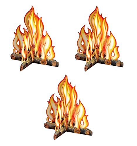 Beistle Premium 3-D Campfire Centerpiece (3-Pack) | Childrens Reusable Party Decoration | Camping, Western Party, Cowboys & Indians and More (Cardboard Camp)
