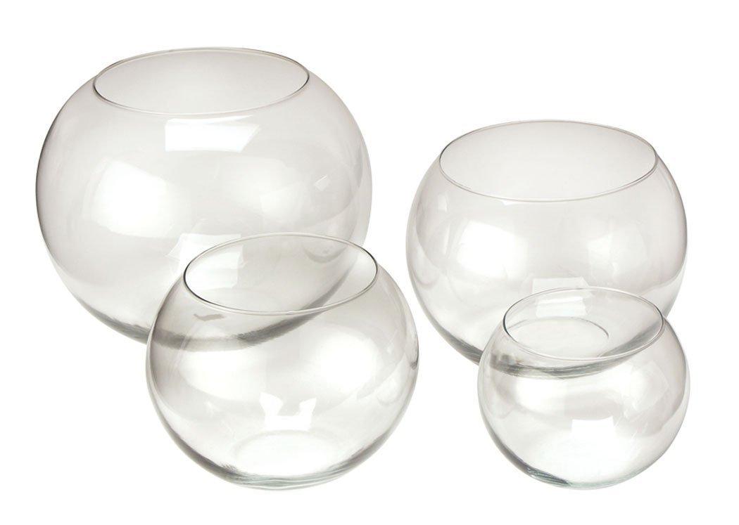 8 x 8 Clear Wedding Centrepiece Glass Goldfish Bowl 16cm Tall
