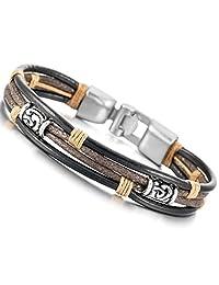 MOWOM Black Silver Tone Brown Alloy Genuine Leather Bracelet Bangle Rope