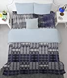 SPACES Youthopia Dark Blue 180 TC Cotton Single Bed sheet With 2 Pillow Cover