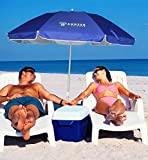 AMMSUN 6.5ft Two Folded Patio Beach Umbrella for