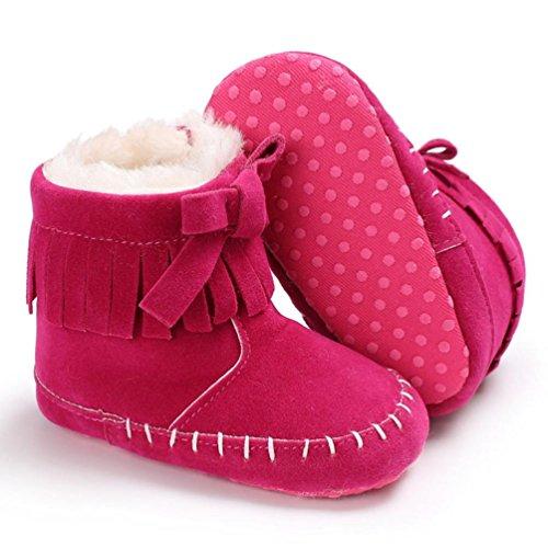 Hunpta Neugeborene Aufwärmen Schuhe Baby Mädchen Soft Sole Booties Schnee Stiefel Infant Kleinkind Hot Pink