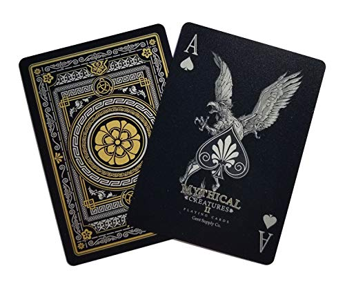 (Gent Supply Plastic Waterproof Mythical Creatures II (All New Creatures) - Black Silver & Gold Edition Playing Cards)