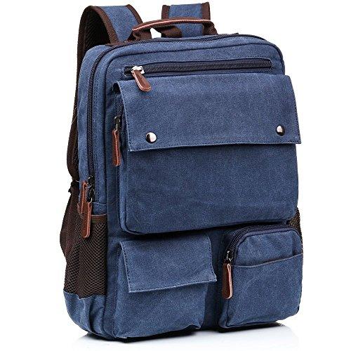 Vintage Canvas Backpack Laptop for Men Casual Bookbag for College (Blue) - 4