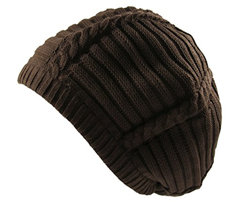 RW 100% Cotton Classic Rasta Slouchy Ribbed Beanie Hats (Brown)