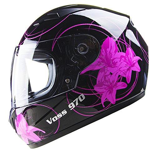 Voss 970Y Youth/Kids Full Face Helmet. Pink Lily Graphic. DOT - L - Gloss Black - Black Girl Helmet