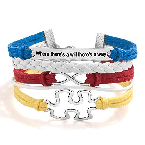 (CLY Jewelry Autism Awareness Infinity Love Puzzles Handmade Colorful Leather Rope Braided Bracelet Wristband Where There is A Will There is A)