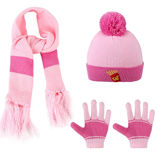Vbiger Knitted Hat Scarf And Gloves Set For Kids (Pink)