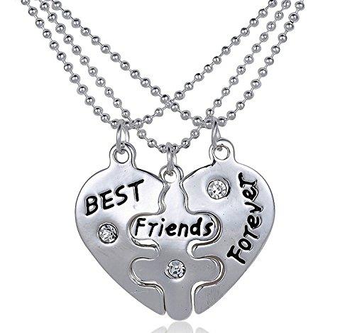 Set of 3 Pieces BFF Best Friend Forever Split Heart Pendant Valentine Heart Friendship Necklaced