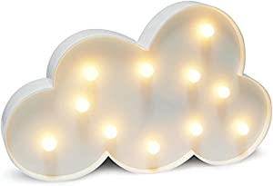 Cloud Night Light LED Marquee Sign-Baby Light-Battery Operated Nursery Lamp,Perfect Gift Decorative Light for Kid's Room/Party/Home/Wall Decor(White)