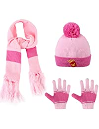 Vbiger Kids Winter Warm Knitted Hat Scarf and Gloves Set 3 Pieces