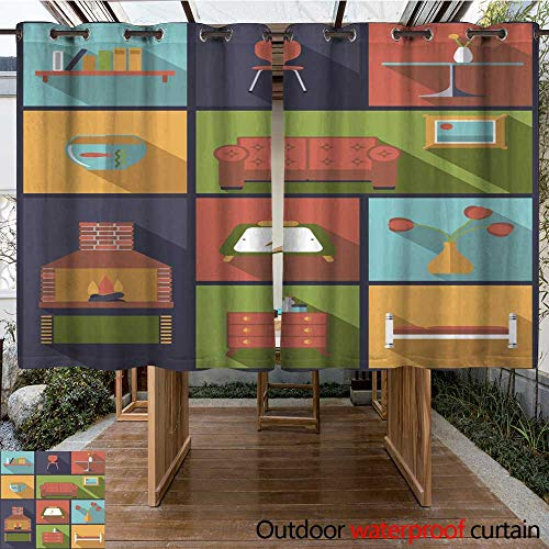 RenteriaDecor 0utdoor Curtains for Patio Waterproof Interior and Furniture Icons Vector Illustration W108 x L72