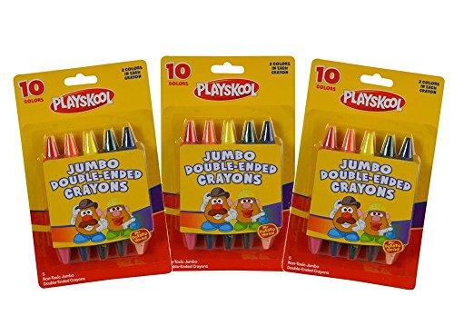 (3-Pack Playskool Mr Potato Head Jumbo Double-Ended Crayons, 10 Colors)