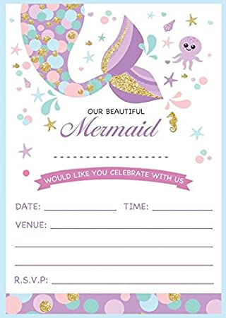 EBSR MERMAID THEMED PINK BIRTHDAY PARTY INVITES INVITATIONS X 10 PACK Amazoncouk Toys Games