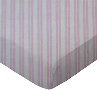 product image for SheetWorld 100% Cotton Percale Extra Deep Fitted Portable Mini Crib Sheet 24 x 38 x 5.5, Pink Dual Stripe, Made in USA