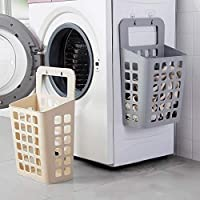CHOUREN Home Sucked Type Plastic Dirty Clothes Basket Wall Hanging Laundry Basket Bathroom Accessories,Variation 1:White…