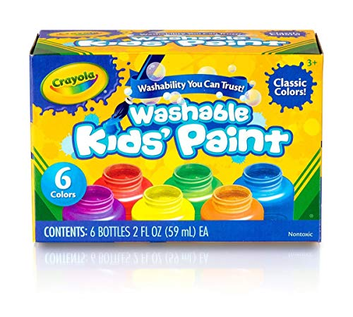 Crayola Washable Kids Paint, Classic Colors, 6 Count, Painting Supplies, Gift -