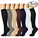 7 Pairs Compression Socks For Women and Men - Best Medical, Nursing, for Running, Athletic, Edema, Diabetic, Varicose Veins, Travel, Pregnancy & Maternity - 15-20mmHg