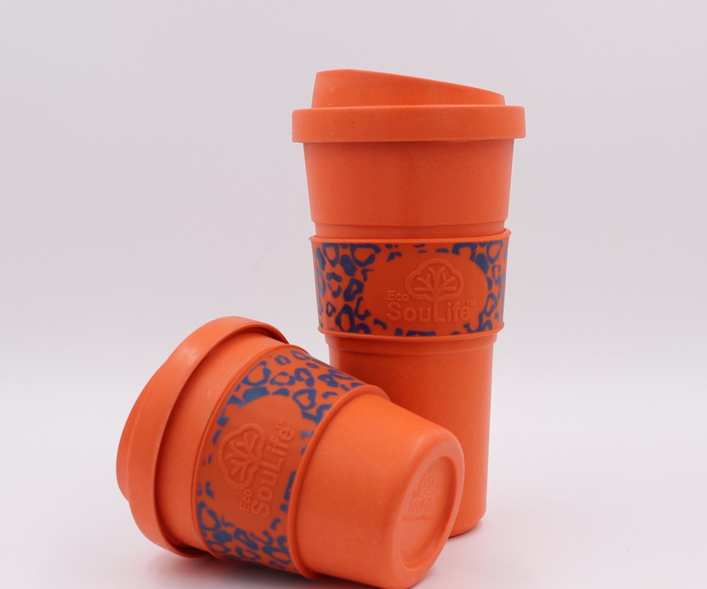 (Orange) - Ecosoulife Bamboo Biodegradable New CafZ Latte Coffee MugEin Lime, Small 207 mL  オレンジ B0741DBYJV