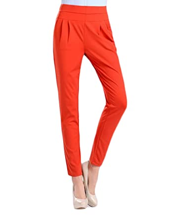 Mlg Womens Casual Solid Plus Size Elastic Waist Pants Trousers At