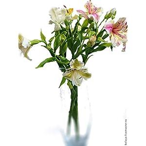 Silk Flower Arrangements alstroemeria centerpiece, room flower decore, cold porcelain, wedding alstroemeria, housewarming gift, center piece, gift memory, birthday bouquet, birthday women gift, mother gift