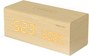BALDR Wooden Alarm Desk Clock, Touch Sensitive Wood LED Digital Clock with Time, Date,Temperature for Bedroom Office Home table top - Solid Wood