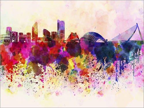 Lienzo 80 x 60 cm Valencia Skyline (Watercolour) de Editors Choice - Cuadro Terminado, Cuadro sobre Bastidor, lamina terminada sobre Lienzo autentico, impresion en Lienzo