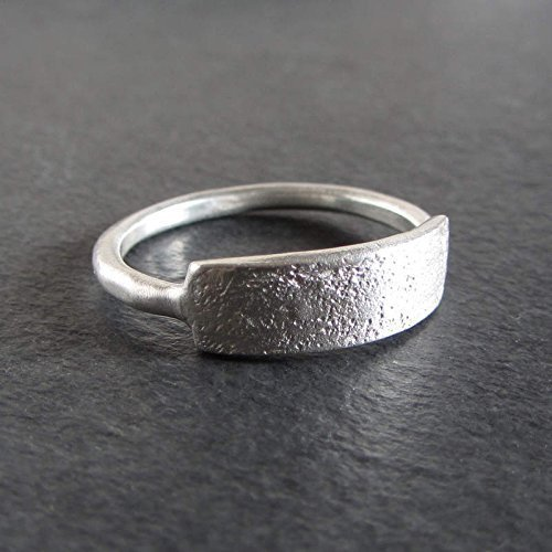 cd9dfa13c5c Image Unavailable. Image not available for. Color: Simple rough textured  sterling silver stacking ring/Rustic artisan jewelry
