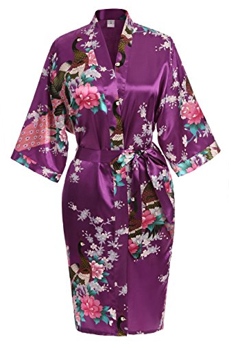 - USDisc't Elegant Women's Kimono Robe for Parties Bridal and Bridesmaid Short (XL, Purple)