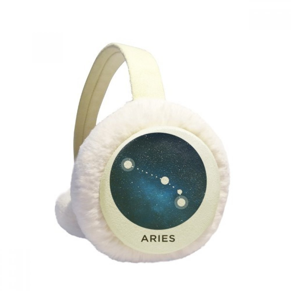 Aries Constellation Zodiac Sign Winter Earmuffs Ear Warmers Faux Fur Foldable Plush Outdoor Gift