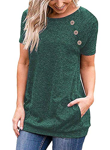 Womens Short Sleeve Round Neck Tunics T Shirts Tops with Pockets Buttons Green 2X