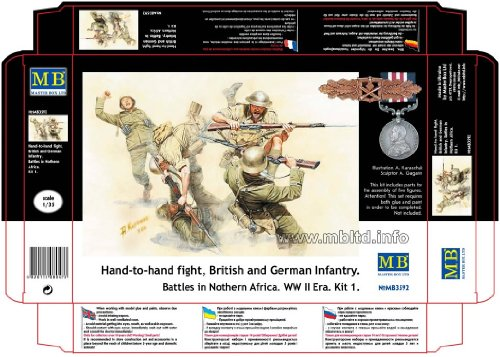 Master Box Hand to Hand Combat British and German Infantry N. Africa WWII (5) Figure Model Building Kits (1:35 Scale) (1 35 Masterbox)