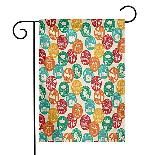 Mannwarehouse Fitness Garden Flag Healthy Lifestyle Icons Colorful Spots Green Tea Cereals Water Walks Cute Retro Premium Material W12 x L18 Multicolor