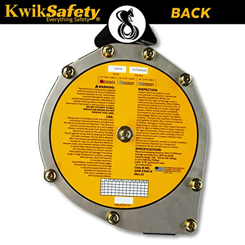 KwikSafety (Charlotte, NC) 20' COBRA Self Retracting Lifeline | Cable | ANSI Class B SRL w/Steel Carabiner Locking Clip Snap Hook | Roofing Construction Personal Fall Arrest Protection Safety Yoyo by KwikSafety (Image #2)